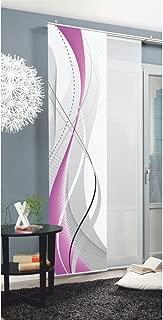 Home Fashion 87152 Carlisle - Panel japonés con impresión Digital (con rieles y sujeciones, 245 x 60 cm), poliéster, Morado, 245 x 60 cm