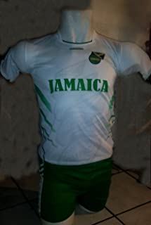 DRAKO INC CHILDRENS, KIDS, BOYS & GIRLS, UNISEX JAMAICA SOCCER KIDS SETS JERSEY & SHORT SIZE SMALL (APPROX. 3T) FOR 2 AGES 2 TO 3 YEARS OLD (WHITE AND GREEN)