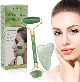 comprar comparacion Rodillo de jade, masajeador facial de rodillo de jade natural, rodillo facial de jade natural, rodillo antienvejecimiento,...