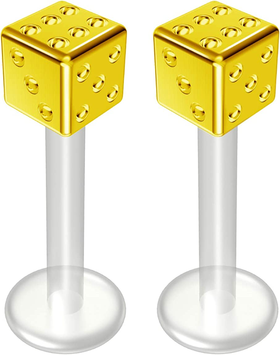 2pc 14g Bioflex Labret Stainless 14 Gauge 12mm Bioplast Cute Dice Monroe Piercing Jewelry Lip Studs