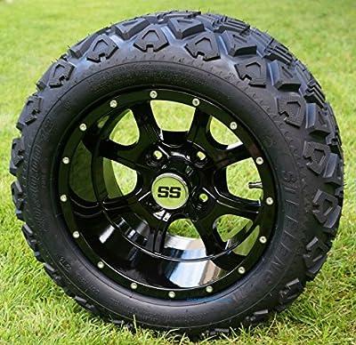 """12"""" STALKER Gloss Black Golf Cart Wheels and 20x10-12 DOT All Terrain Golf Cart Tires - Set of 4 - NO LIFT REQUIRED (read description)"""