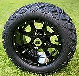 12' STALKER Gloss Black Golf Cart Wheels and 20x10-12 DOT All Terrain Golf Cart Tires - Set of 4 - NO LIFT REQUIRED (read description)