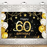 Homanga 60th Birthday Black Gold Party Decoration, 60th Extra Large Fabric Black Gold Backdrop Background Banner Photo Booth, 60th Birthday Party Supplies Decorations for Women and Men