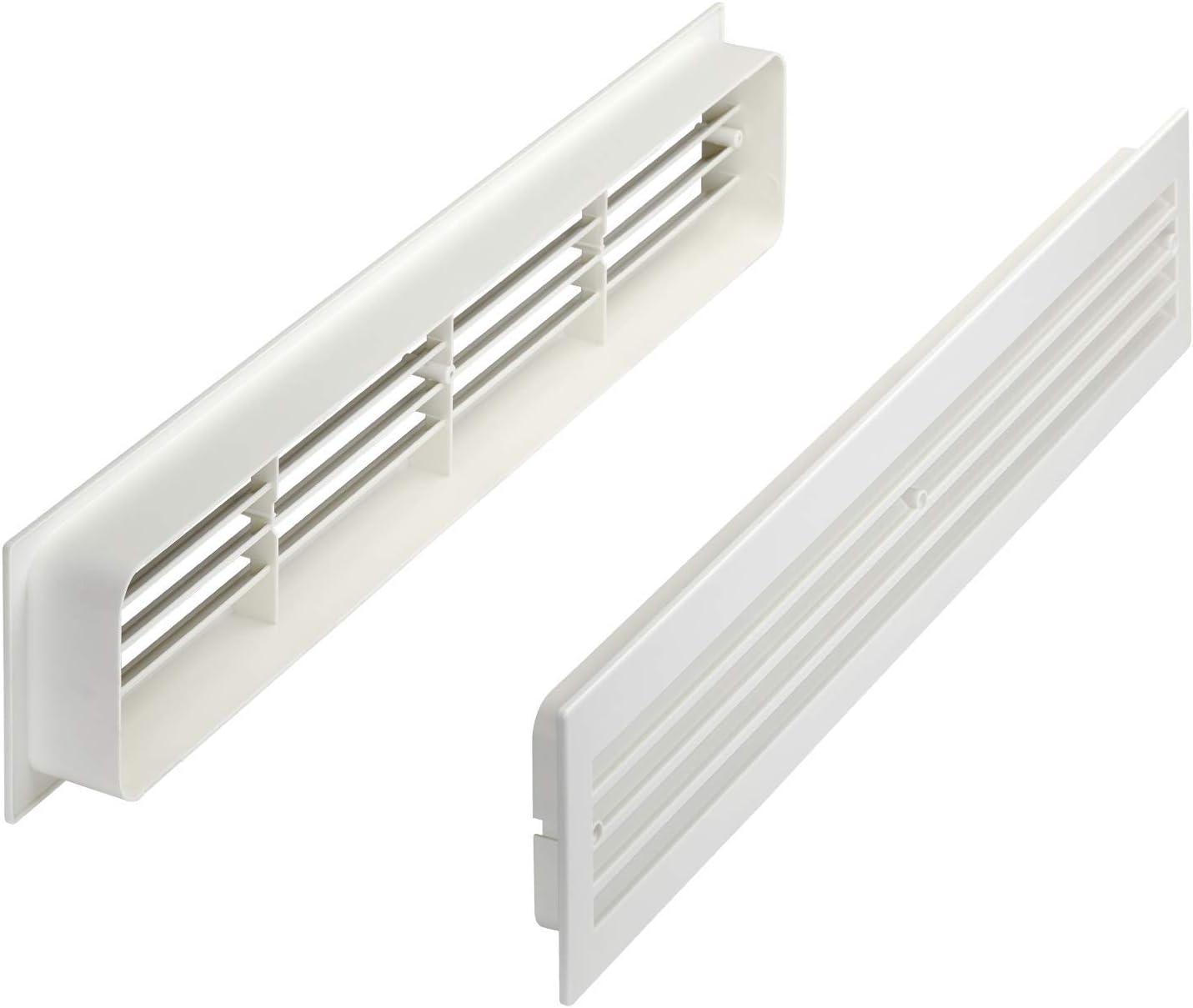 Lüftungsgitter BRISE 20 x 20 x 20 mm weiß doppelseitig durchblicksicher  Schlitzlochung Schlitzgitter Abluftgitter Türlüftungsgitter von SO TECH