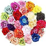 27 Pièces Pince à Cheveux Grande Fleur Rose Épingles à Cheveux de Rose Broche Fleur Accessoire de Performance pour Style de Vacances d'Été Femmes Filles
