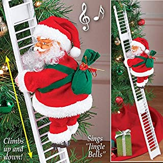 ALEXTREME Santa Climbing Ladder Chimney Electric Christmas Santa Claus Plush Doll Toy Hanging Ornament Tree Indoor Outdoor Xmas Party Home Door Wall Doll Decoration Chimney with Music (Ladder)