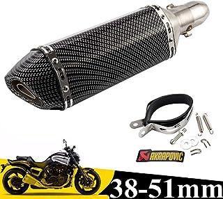 liuzhuo スリップオンマフラー バイクサイレンサー 炭素繊維GP 38mm 50.8mm汎用 ステンレス マフラー可取り外し サイレンサー オートバイ ブラック