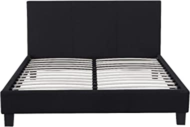 Cadre de lit Dico 140x200cm Noir Tissus