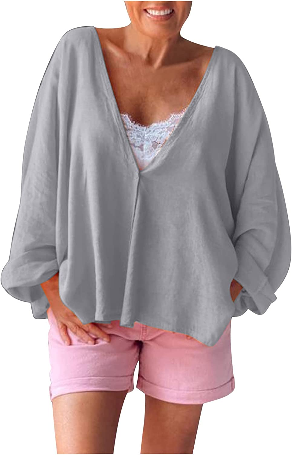 Womens Causal Solid Color Tops V Neck Roll up Sleeve Tshirts Workout Tops Fashion Sweatshirts Blouse Gifts