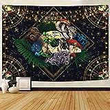 Skull Tapestry Colorful Mushroom Tapestry Constellation...