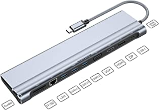 USB C Dock,12-in-1 USB C Docking Station with Ethernet Port, 4K USB C to HDMI, 3 USB 3.0 Ports, SD/TF Card Reader, USB-C Power Delivery, Display Port and VGA Port for MacBook Pro and Windows Laptop