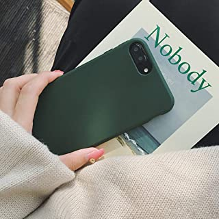 YonMeet Retro Case for iPhone X 8 7 7plus Soft pro-TPU Cover for iPhone6 6Plus 6s 6sPlus Fashion Style Flexible Rubbery Slim Cover (iPhone 7/8, Forest Green)