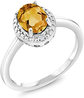 Gem Stone King 925 Sterling Silver Yellow Citrine & White Diamond Women's Ring 1.31 cttw (Available 5,6,7,8,9)