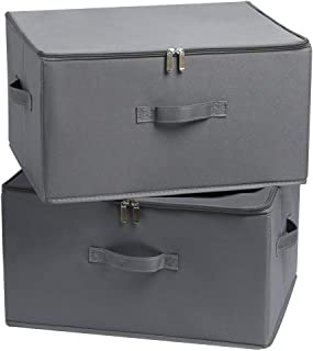 YueYue Large Fabric Storage Boxes with Zipper/Lids,2 Pack Foldable Cloth Storage Boxes Washable for Bedroom Organizer Closets Shelf (Gray) 17.7/13.8/9.8