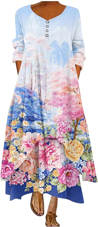 soyienma Womens Summer Dress,Womens Floral Loose Long Sleeve Maxi Dress Bohemian Caftan Beach Dress