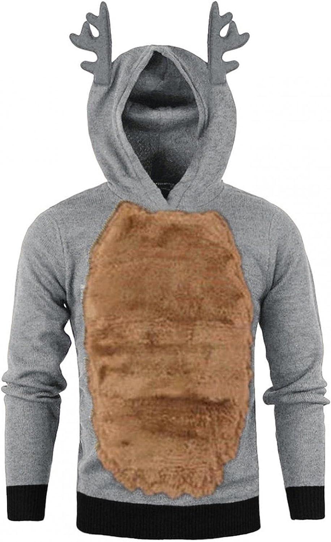 Xmas Christmas Hoodies For Men Closplay Contrast Feather Hooded Sweatshirt Elk Antlers Long Sleeve Pullover Tops