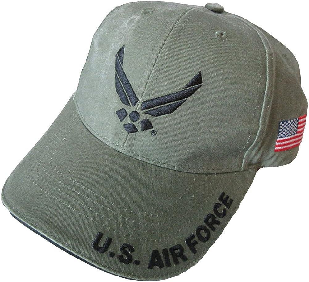 U.S. Air Force with U.S. Flag Baseball Cap. OD Green