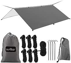 Hammock Rain Fly Tent Tarp Provides Effective Protection Against Rain, Snow. 32ft Long Ridgeline. Big 9.8x9.5ft Durable, Waterproof 210D Oxford. 6 Reflective Guy Lines, 2 Stuff Sacks. Easy Assembly