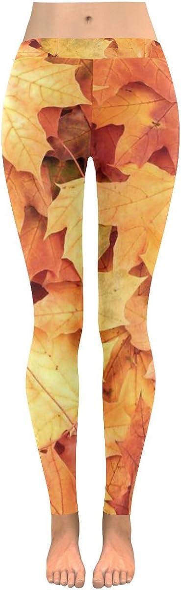 InterestPrint Custom Autumn Maple Leaves Stretchy Capri Leggings