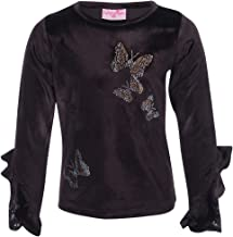 Cutecumber Girls Chenille Embellished Brown Winter Top.CC1831A-BROWN