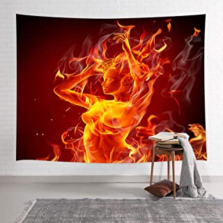 NYMB Sexy Naked Girl Tapestry, Flame Artwork of Beautiful Female Body Burning Nude Woman Art Wall Decor, Tapestries Wall Hanging for Bedroom Living Room Collage Dorm, Wall Blanket 71X60 Inches