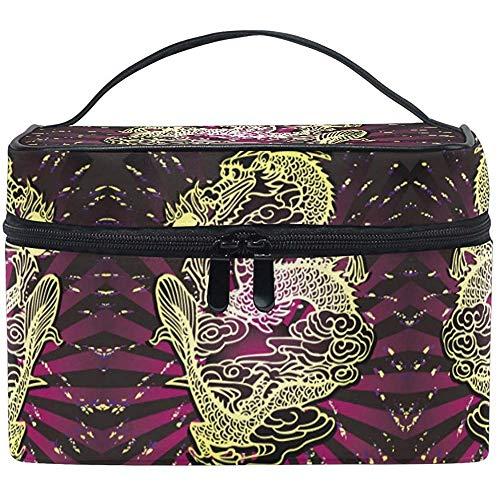 Sac cosmétique sac chinois de maquillage de lion de lion pour des femmes Sac cosmétique trousse de toilette de train