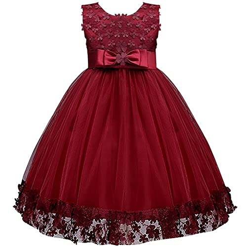 0444011879b IWEMEK Kids Flower Girls Lace Tulle Dress Princess Birthday Party Dress  with Bowknot Birthday Party Wedding
