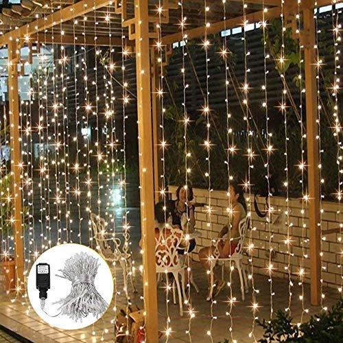 Lichterkette außen warmweiß B-right 300 Led Lichterkette strombetrieben, Innen Lichterkette vorhang, LED Lichtervorhang, Sternenlicht, Lichterkette für Weihnachten Balkon Hochzeit Party Zimmer