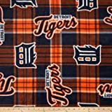 Fabric Traditions MLB Fleece Detroit Tigers Plaid Blue/Orange Fabric By The Yard