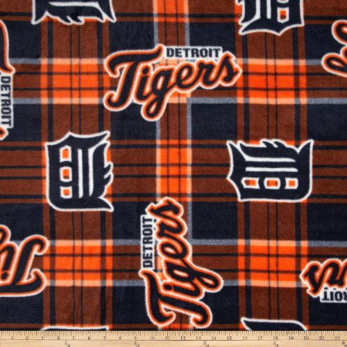 Fabric Traditions MLB Fleece Detroit Tigers Plaid Blue/Orange Fabric By The Yard