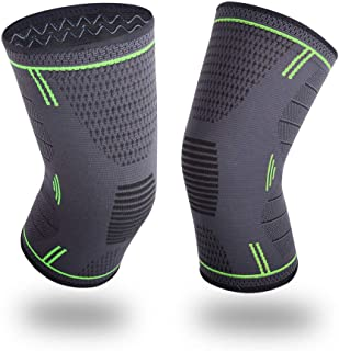 Knee Compression Sleeve, BEYONG Knee Brace for Arthritis, Meniscus Tear, Injury Recovery, Knee Support for Running, Crossfit, Basketball, 1 Pair Pain Relief for Men Women (Green, XL)