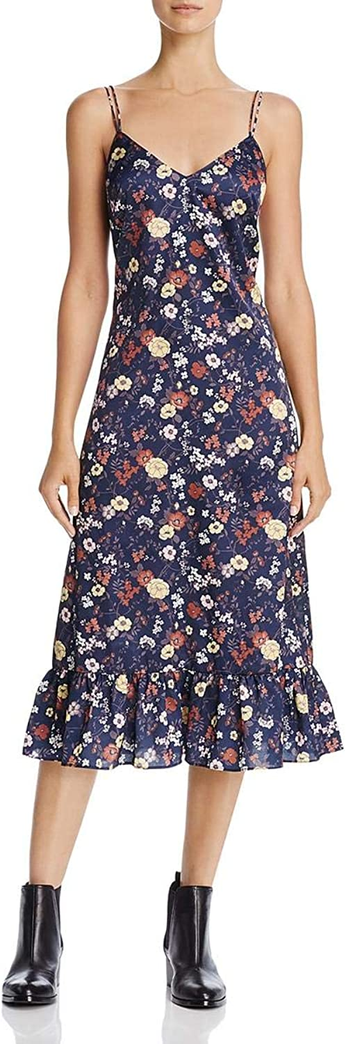 En Crème Womens Satin Floral Print Midi Dress