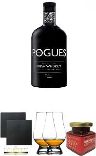 The Pogues Irish Whiskey 0,7 Liter  Schiefer Glasuntersetzer eckig ca. 9,5 cm Durchmesser 2 Stück  The Glencairn Glass Whisky Glas Stölzle 2 Stück  Redbreast 12 Jahre Himbeere Marmelade 150 Gramm Glas