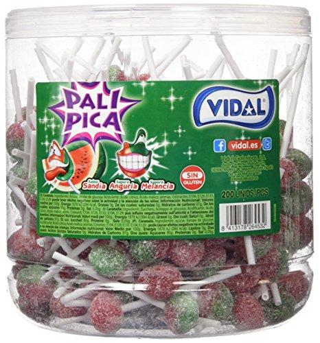 Vidal Golosinas. Palipica Sandia. Caramelo con palo sabor sandía con pica. Formato de 200 Uds. (106)