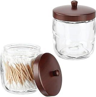 mDesign pot en verre et bambou pour les cosmétiques (lot de 2) – bocal avec couvercle pour cotons, chouchous etc. – pot de...