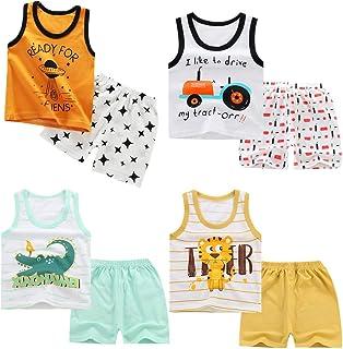 XM-Amigo 8 Pack de niños Niños Chaleco sin Mangas Camisetas Interiores Camisetas sin Mangas Suaves Pantalones Cortos Panta...