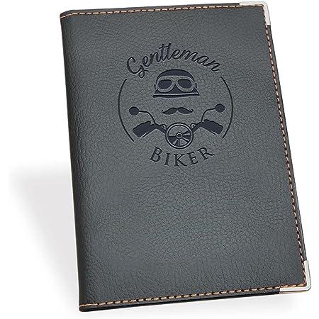 Funda para permiso de circulation coche Cartera de cuero o piel sintética para documentos de motocicleta. Motorista titular de tarjetas. Gentleman Biker