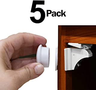 Eco-Baby Child Safety Cabinet Locks for Drawers and Cabinets - 5 Pack Magnetic Locks and Latches + 1 Key - Easy to Install; No Drilling or Tools. Baby, Child and Toddler Proofing Kitchen Cupboards
