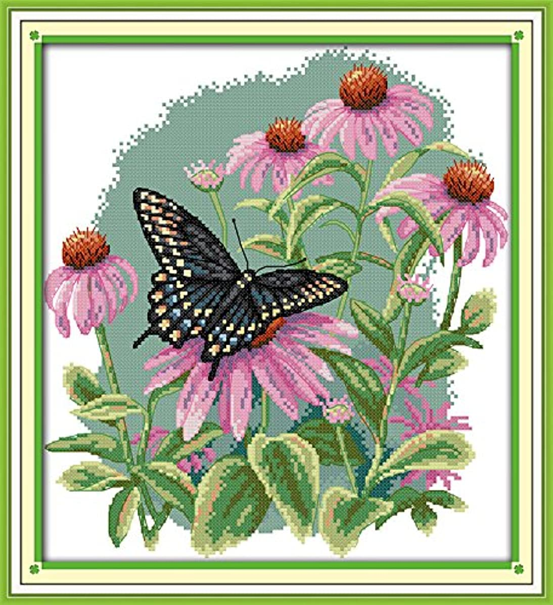 Joy Sunday Cross Stitch Kit 14CT Stamped Embroidery Kits Precise Printed Needlework - Butterfly Over Flowers (7) 31×34CM