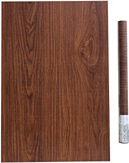 HAOKHOME 2604 3D Wood Wallpaper Roll Self Adhesive Brown Furniture Sticker Kitchen Home Decor