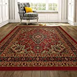 Ottomanson Ottohome Persian Heriz Oriental Design with Non-Skid Rubber Backing, 60' L x 78' W, Red