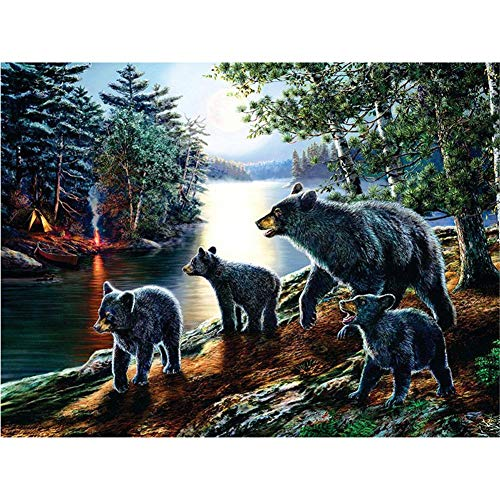 DIY 5D Diamantmalerei Kreuzstich Diamantmalerei Stickerei kompletten Satz Black Bear Family Kunst Wanddekoration-Square Drill,90x120cm