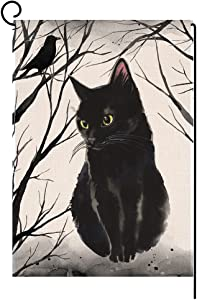 BLKWHT Fall Halloween Cat Small Garden Flag 12x18 Inch Inch Vertical Double Sided Autumn Thanksgiving Black Burlap Yard Outdoor Decor BW064