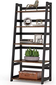 Tribesigns 5-Tier Bookshelf Industrial Bookcase, 5 Shelf Ladder Shelf Book Storage Shelf Organizer for Living Room, Home Office