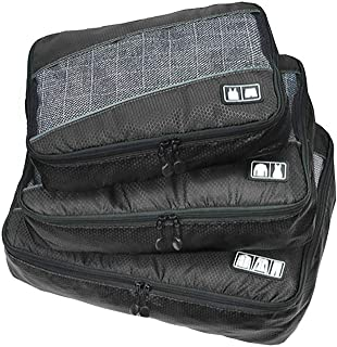 Waterproof Travel Storage Bags Luggage Organizer Pouch Packing Cube Clothing Sorting Packages Pack of 3Pcs Black