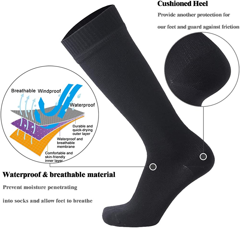 SuMade 100% Waterproof Socks, Breathable Knee High Cushioned Hiking Cycling Fishing Kayaking Socks 1 Pair