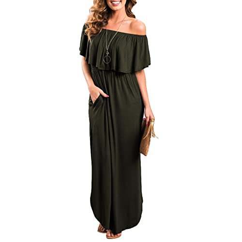 1c0d9f5f1aaf Sarin Mathews Womens Off The Shoulder Ruffle Party Dress Casual Side Split  Beach Long Maxi Dresses