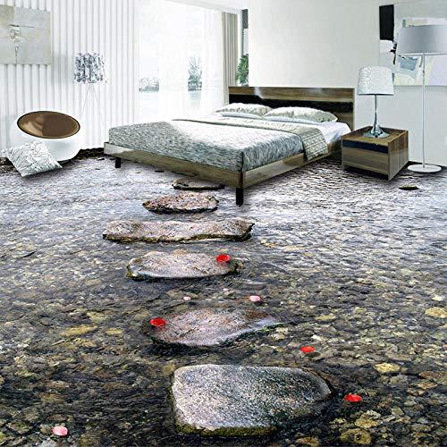 Murales de suelo personalizados Stone Road Creek Water Azulejos de suelo 3D Sala de estar Cocina Baño Papel tapiz de vinilo Decoración impermeable para el hogar-150 * 105cm