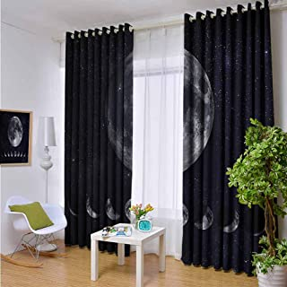 hengshu Moon Phases 99% Blackout Curtains Starry Night Sky Space for Bedroom, Kindergarten, Living Room W108 x L72 Inch