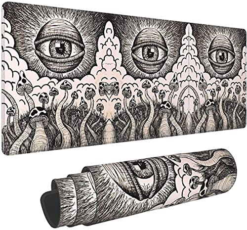 Black and White Magic Mushroom and Demon Eye Large Gaming Mouse Pad with Nonslip Bas Comfy Foldable Mat for Desktop Laptop Keyboard Consoles More -31.5X11.8 Inch